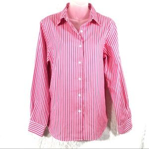 FoxCroft pink white button up blouse top shirt EUC